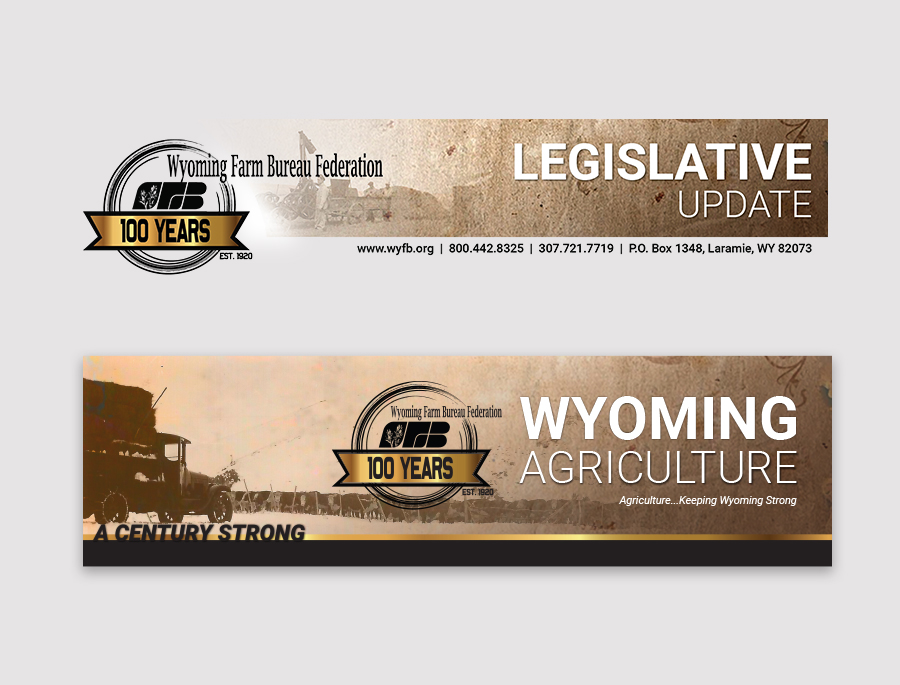header design with old time photos for WYFB centennial year