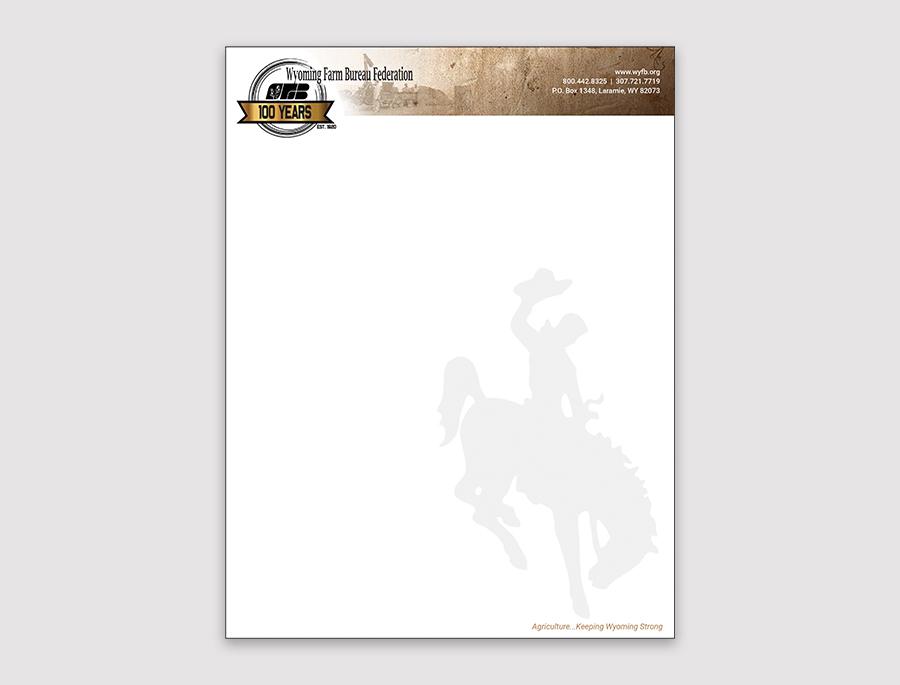 letterhead design for Wyoming Farm Bureau Federation