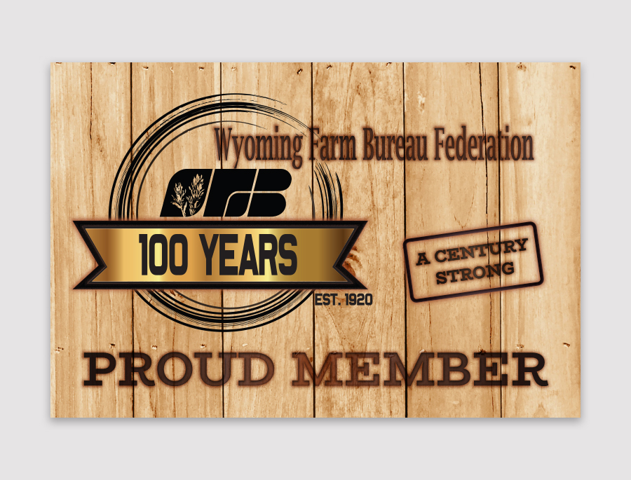 sign design with a barn texture for WYFB 100th year