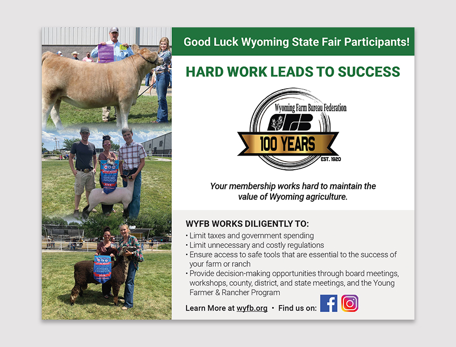 design of an advertisement to go into a program for Wyoming State Fair