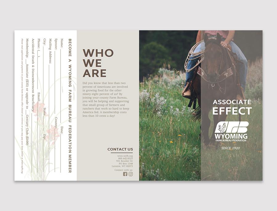 graphic design of brochure for the Wyoming Farm Bureau