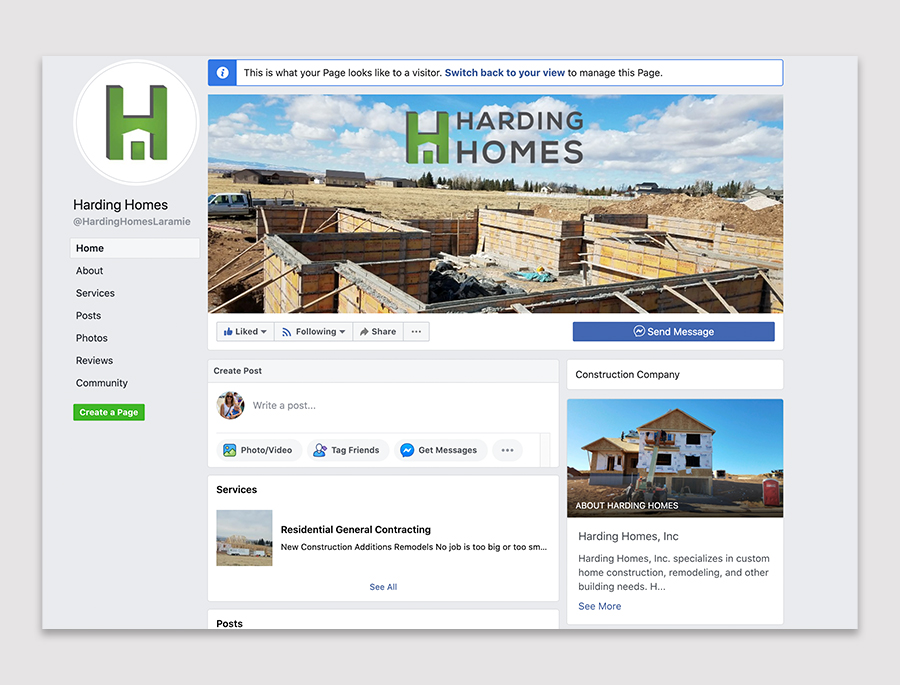 facebook business page for Harding Homes