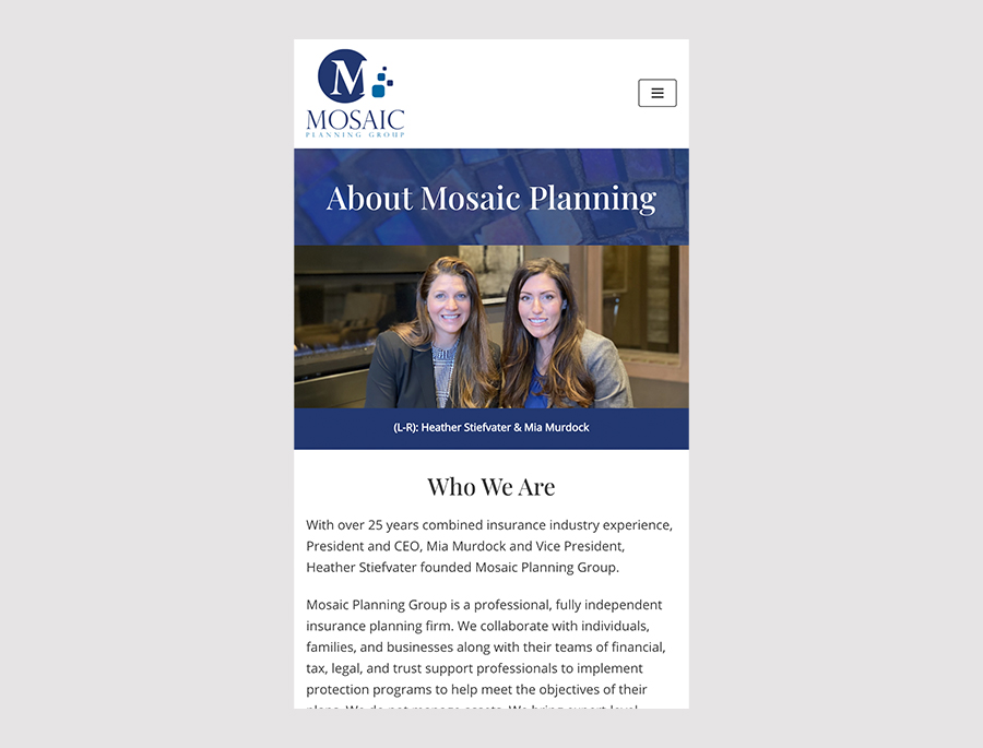 Responsive design example for Mosaic Planning Group website